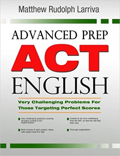 advanced prep for the act english section text book cover
