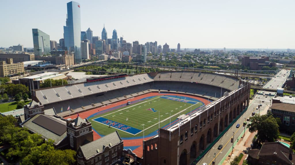 University of Pennsylvania skyline looking east with Franklin Field in foreground. Photo credit: University of Pennsylvania